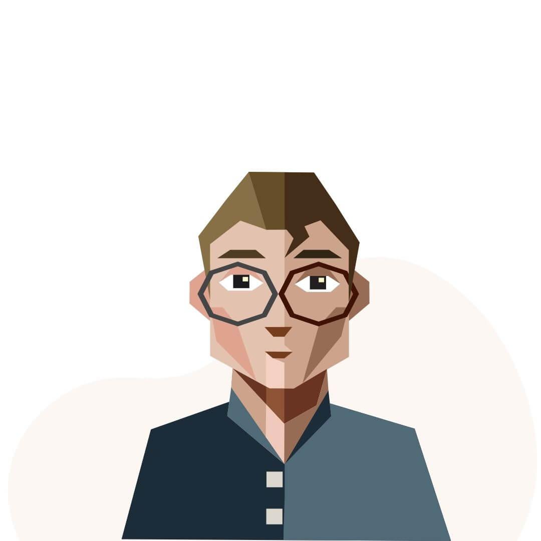 man's face illustration